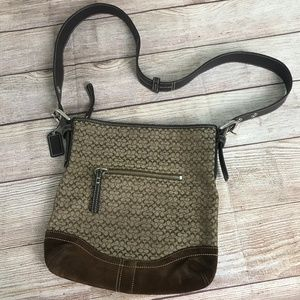 Coach Beige Jacquard Canvas and Suede Crossbody
